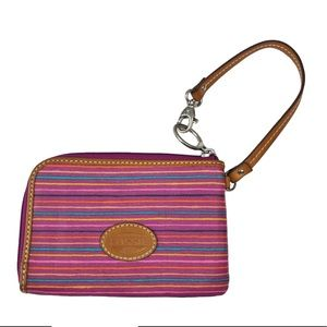 Fossil Wristlet Striped Colorful Zip Around Wallet